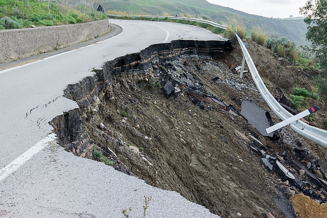 Landslides can destroy important roads, as seen here in Sicily.