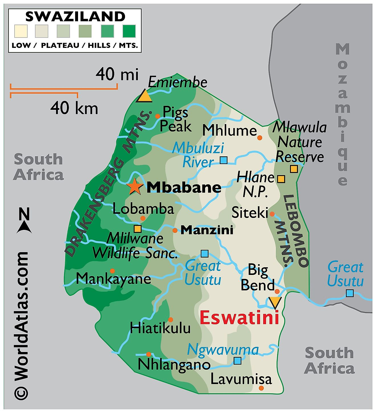 Physical Map of the Eswatini With State Boundaries. It shows the major physical features of Eswatini including mountain ranges, rivers, and lakes.