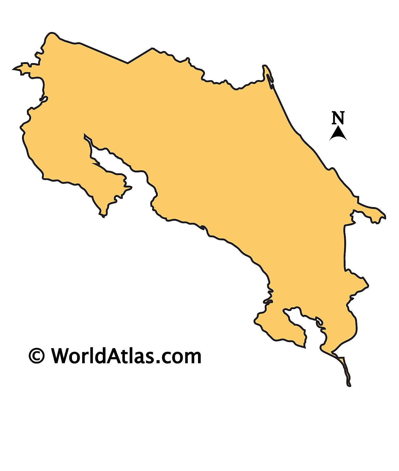 Outline Map of Costa Rica