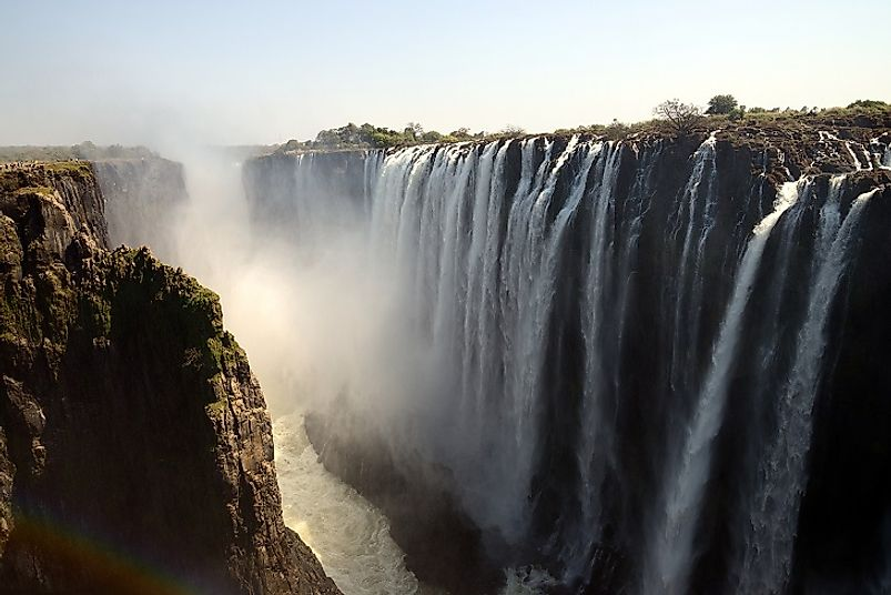 The breathtaking sight of Victoria Falls on the Zambia River between Zimbabwe and Zambia.