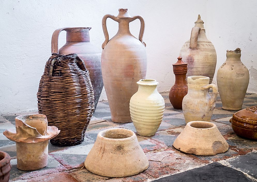 Ancient terracotta pots from Sicily, Italy.