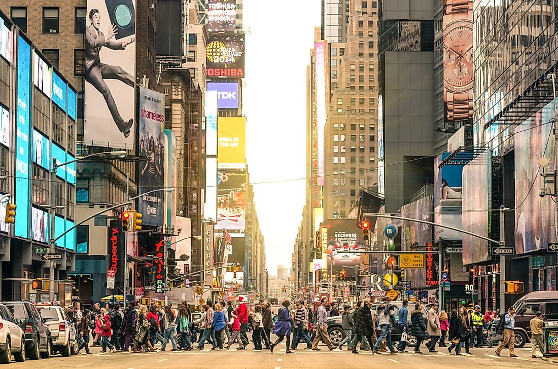 A crowded street in Manhattan, New York. Editorial credit: View Apart / Shutterstock.com.