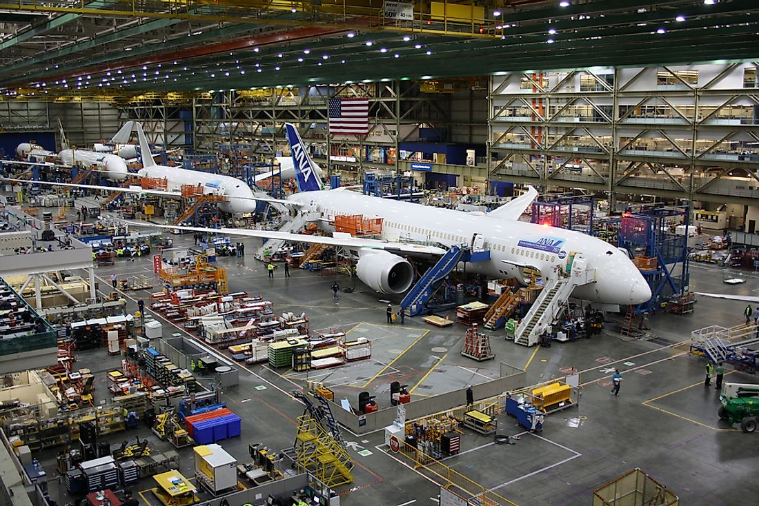 A Boeing airplane being assembled in Everett, Washington. Editorial credit: First Class Photography / Shutterstock.com.