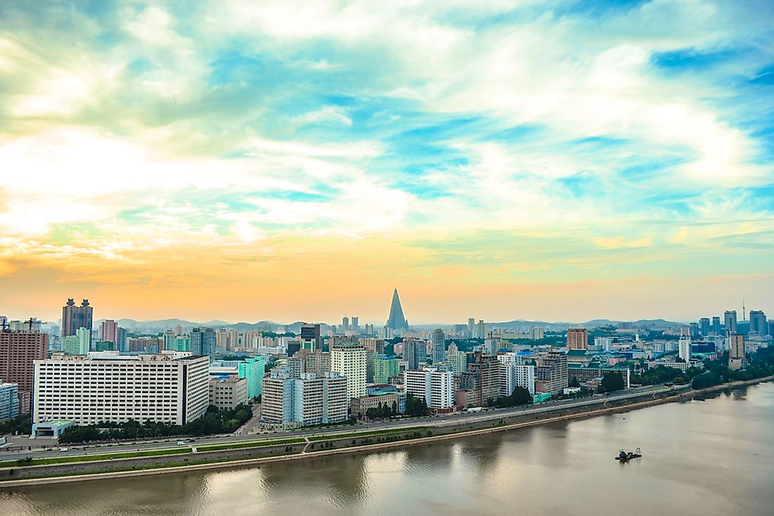 View of Pyongyang skyline including the Ryugyong Hotel.