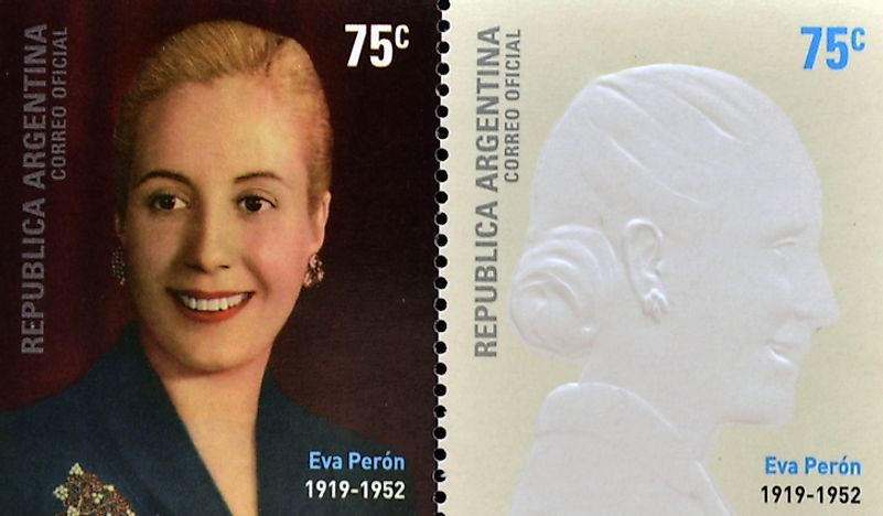 Stamps designed in honor of Eva Perón, circa 2002. Editorial credit: neftali / Shutterstock.com.