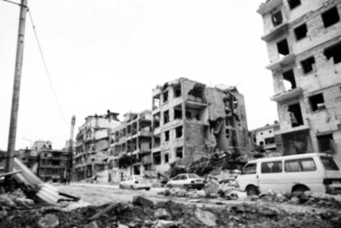 "Aleppo, Syria. The destruction of Aleppo has been referred to as ""urbicide""."