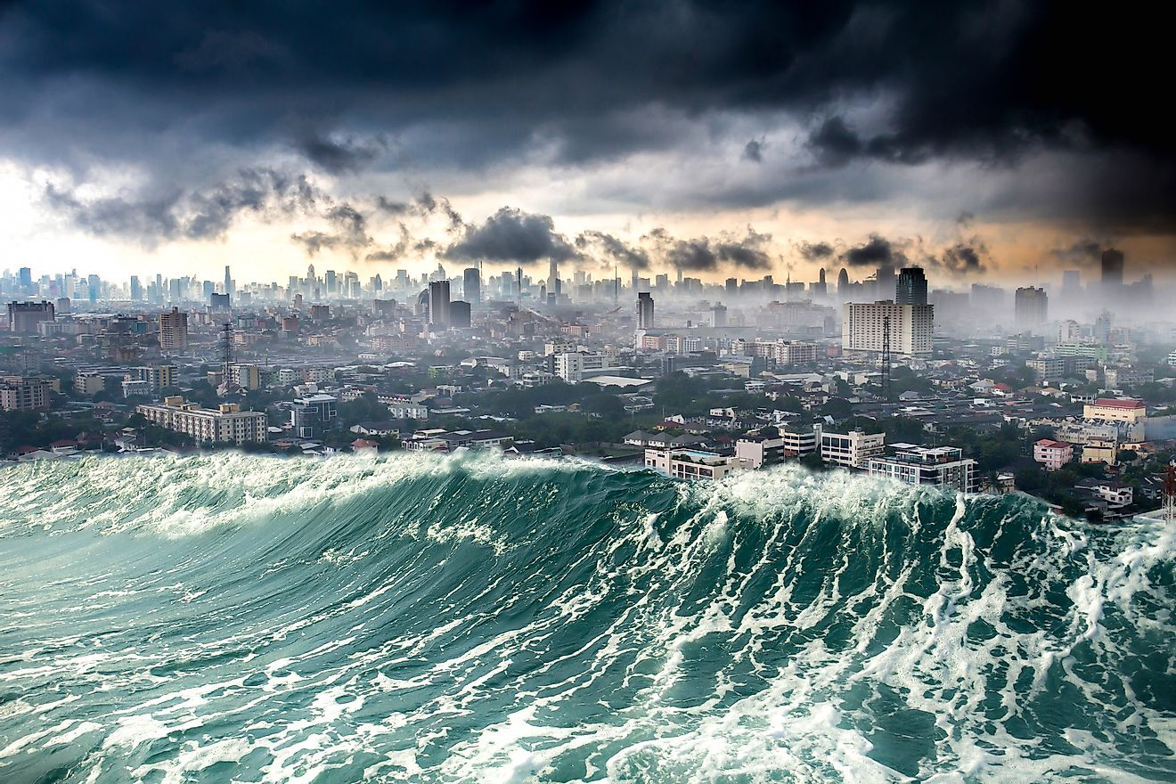Sea-level rise due to global warming is predicted to cause massive loss of life and property in the future.