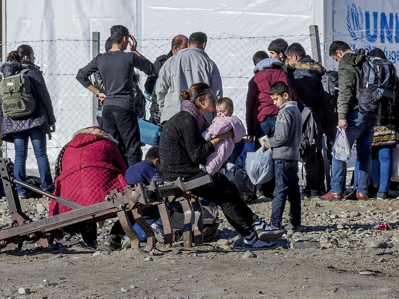 Syrian expatriates reigister to enter the Vinojug refugee camp in the Macedonian municipality of Gevgelija. Violence in Syria has displaced millions of its people.