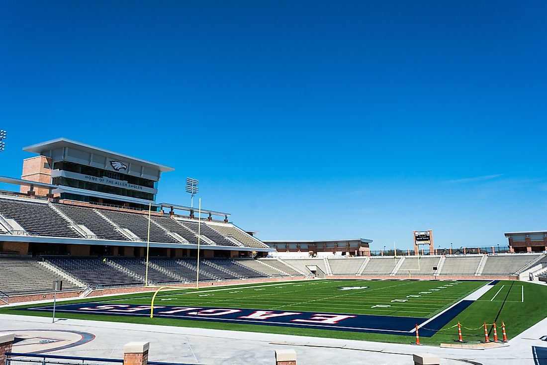 Allen Eagle Stadium in Allen, TX has a capacity of 18,000 people. Editorial credit: Eric Urquhart / Shutterstock.com