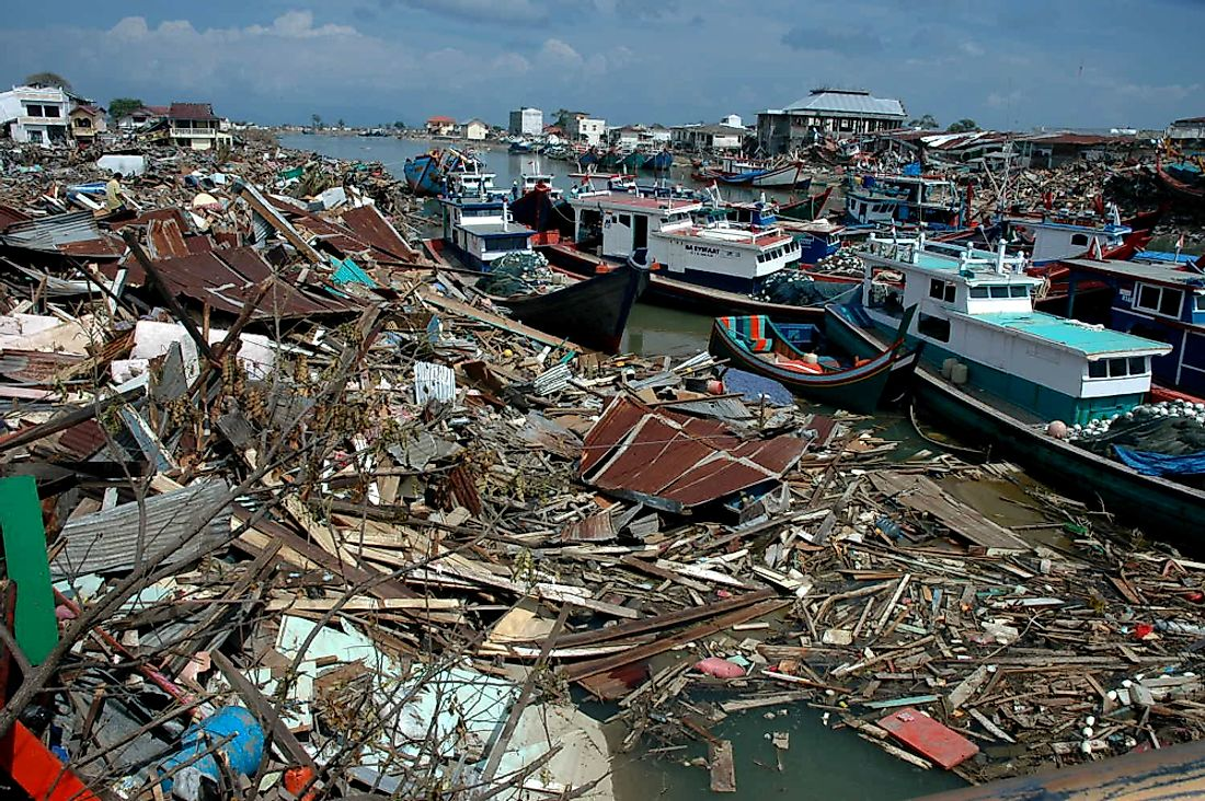 Destruction left by the Indian Ocean earthquake and tsunami in December 2004. Editorial credit: Frans Delian / Shutterstock.com
