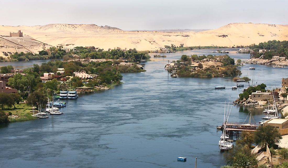 River Nile sustains life in Egypt's desert landscape.