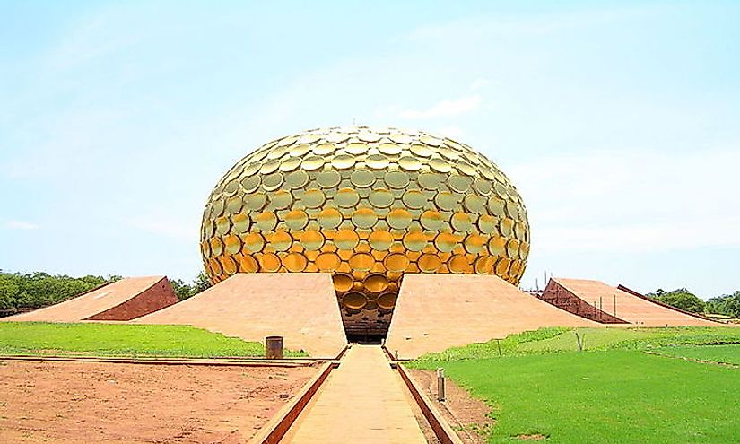 The Matrimandir, a golden metallic sphere in the center of town.