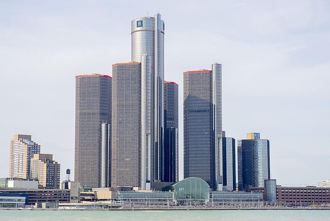 The Renaissance Center in Detroit, Michigan is the headquarters of General Motors. Editorial credit: Roxana Gonzalez / Shutterstock.com