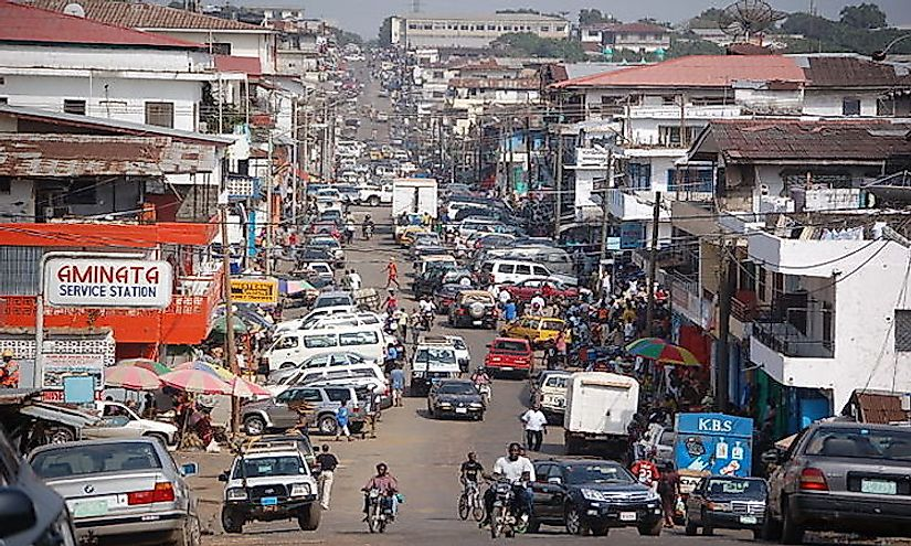 Downtown Monrovia, the largest and capital city of Liberia.