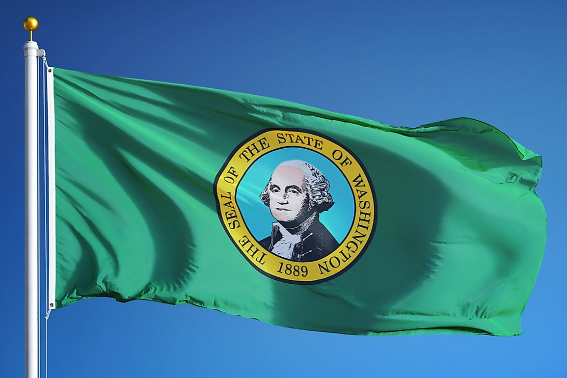 The Washington state flag bears the image of George Washington, the first president of the United States and namesake of the state.