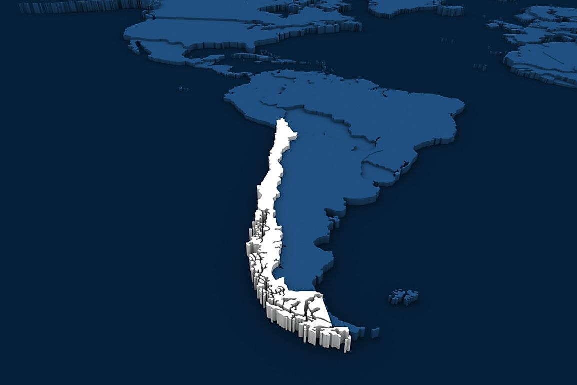 Chile stretches for 2,670 miles along along the southwestern coast of South America.