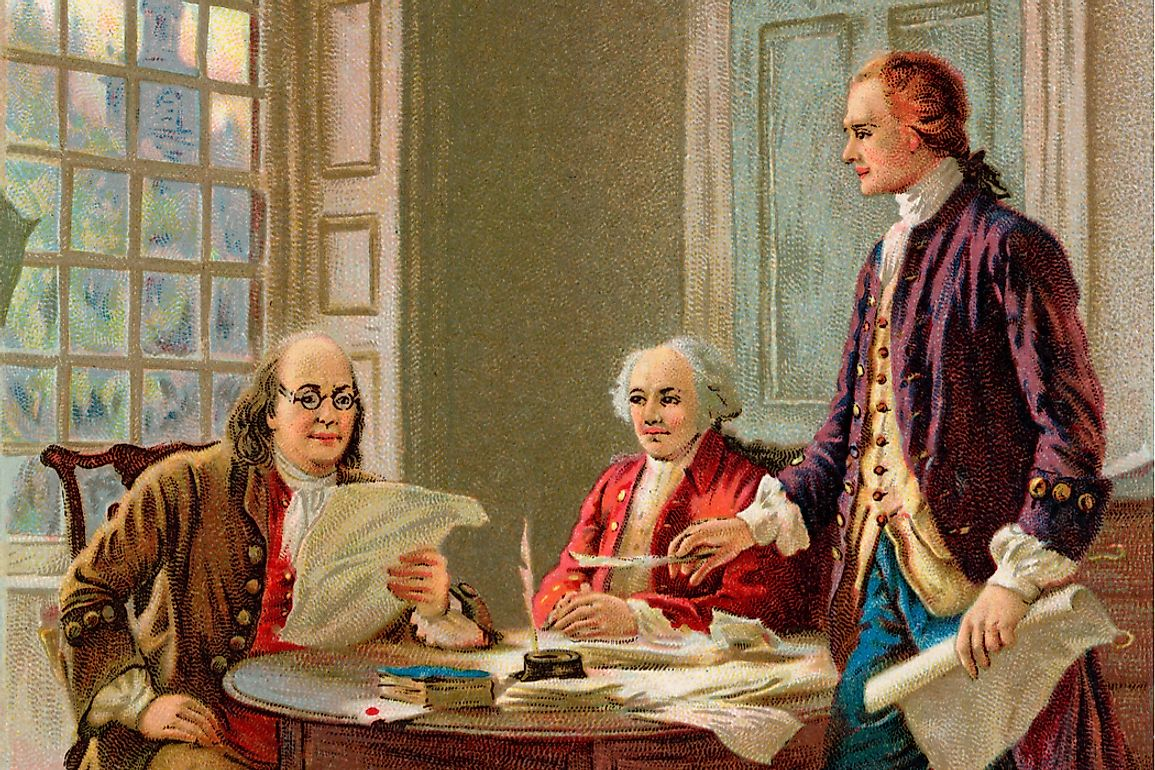 Benjamin Franklin, John Adams and Thomas Jefferson reviewing the Declaration of Independence in 1776.