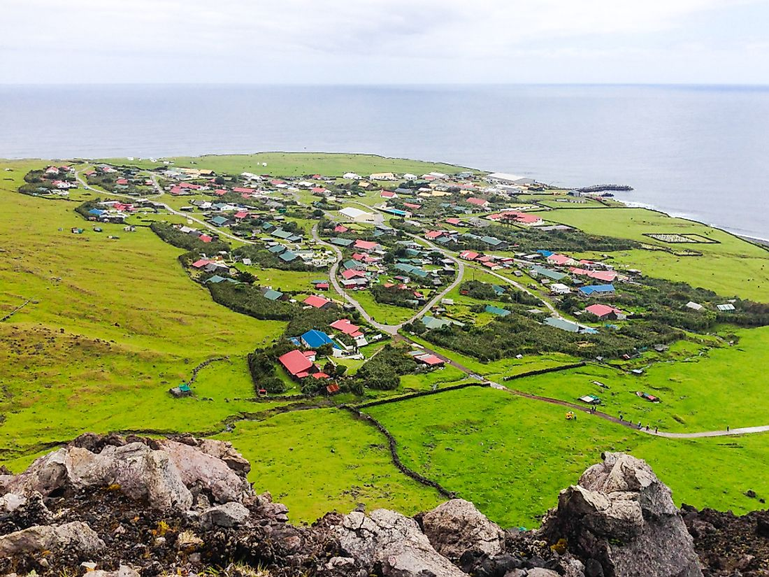 Edinburgh of the Seven Seas town's aerial panoramic view in Tristan da Cunha. Image credit: maloff/Shutterstock.com