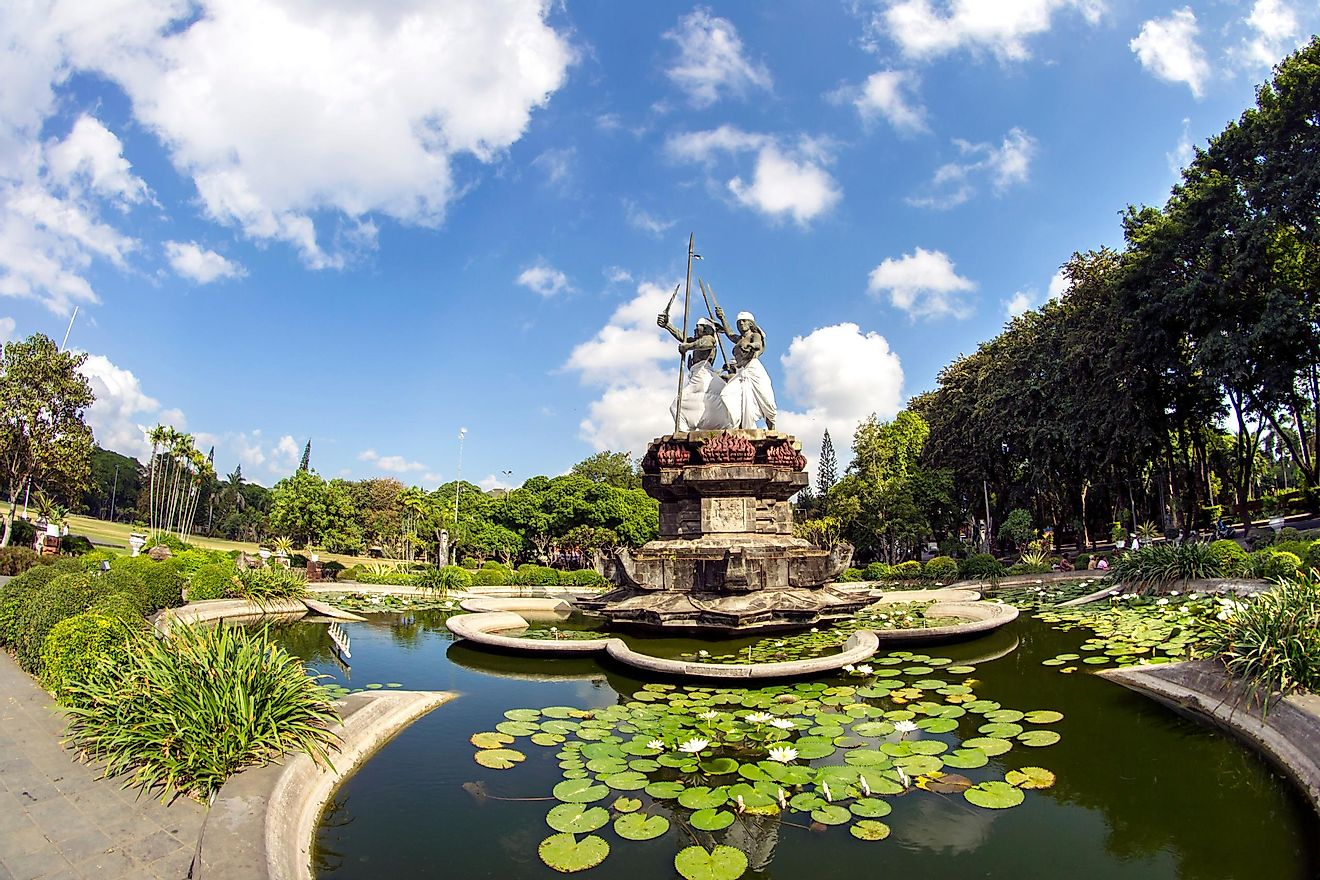 Monument of Puputan Badung, the monument is built to keep alive the moment of suicidal battle of The King of Denpasar against Dutch in year 1906. Image credit: ferryelegant / Shutterstock.com