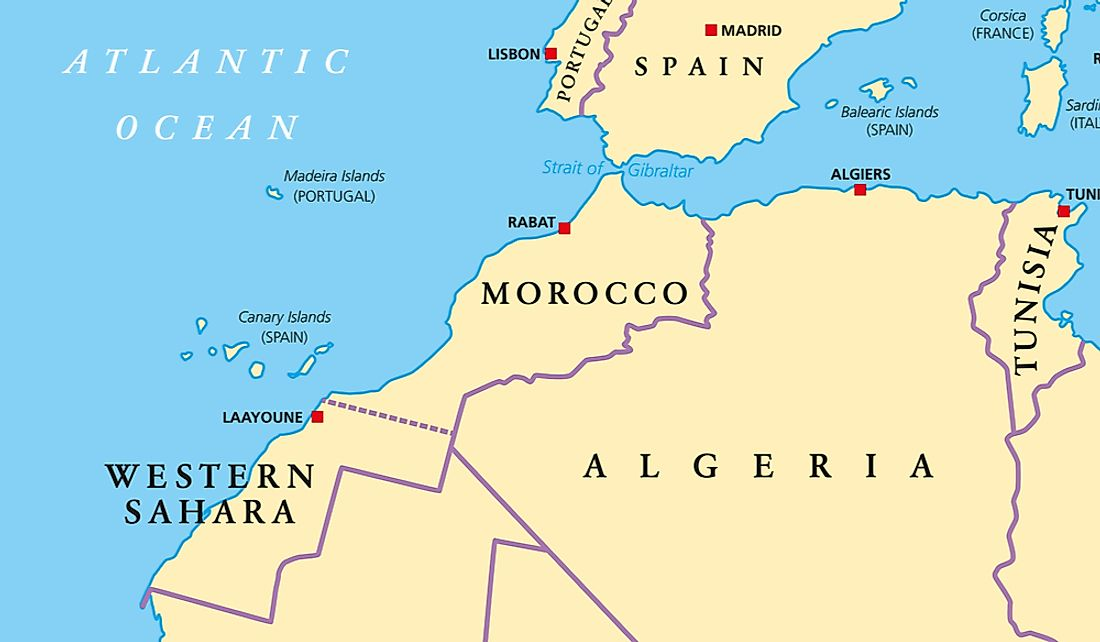 The territory of Western Sahara is partially controlled by Morocco.