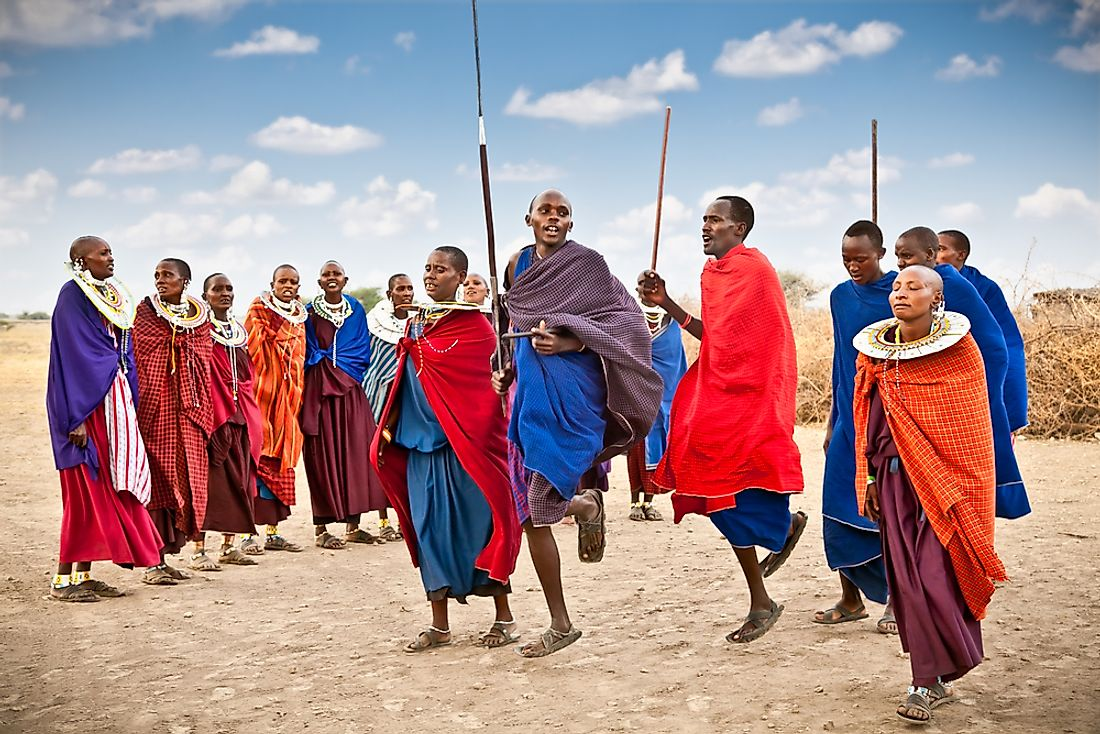 Masai warriors perform a traditional cultural ceremony in Tanzania.  Editorial credit: Aleksandar Todorovic / Shutterstock.com.
