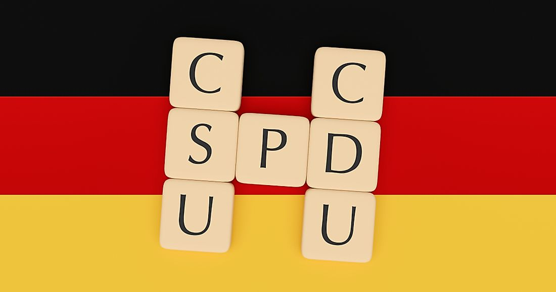 Coalition Governments in Germany have been composed of the Christian Social Union (SCU), Christian Democratic Union (CDU), and the Social Democratic Party (SDP). Editorial credit: cbies / Shutterstock.com