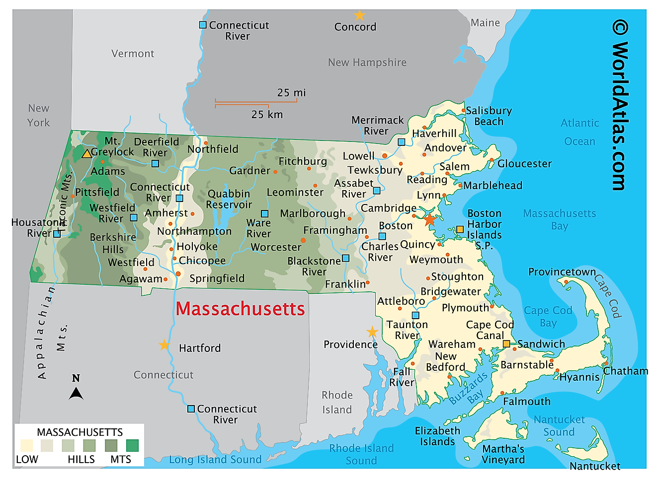 Physical Map of Massachusetts. It shows the physical features of Massachusetts including its mountain ranges, major rivers and lakes.