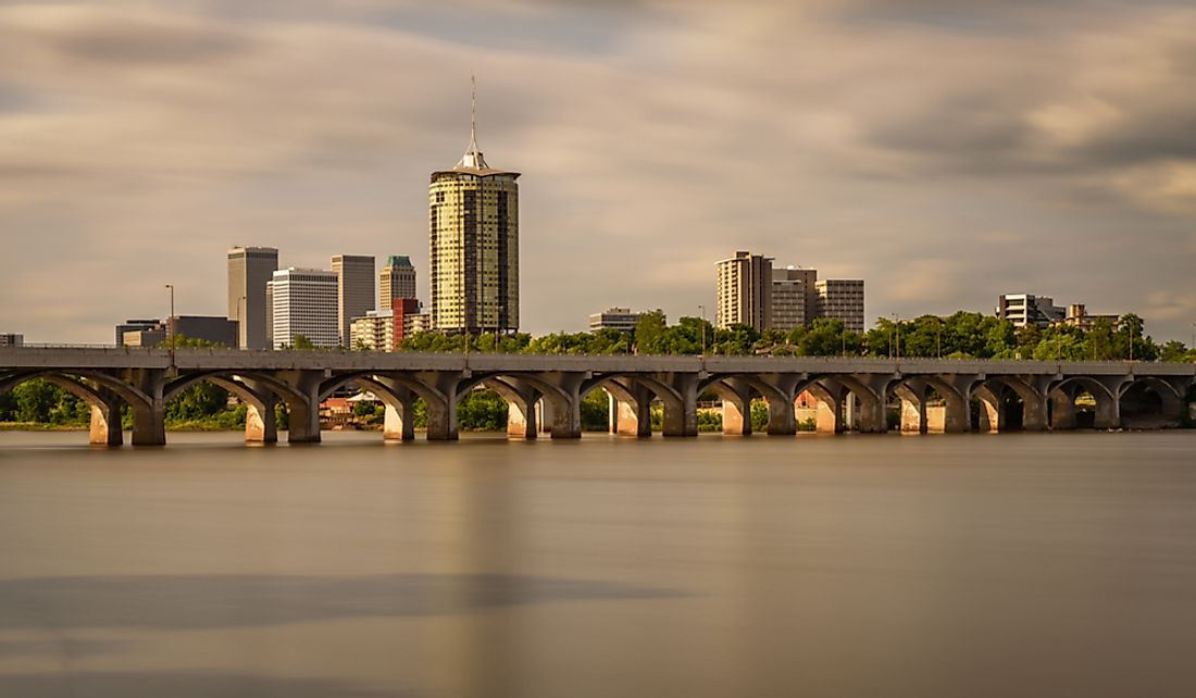 Tulsa, Oklahoma on the banks of the Arkansas River.