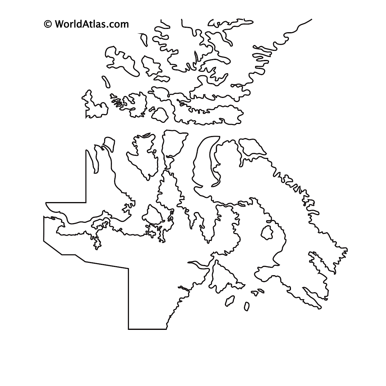 Blank Outline Map of Nunavut