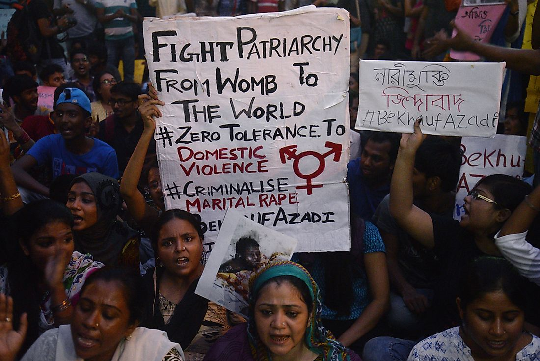 A protest against domestic violence against women in Calcutta, India. Editorial credit: Saikat Paul / Shutterstock.com
