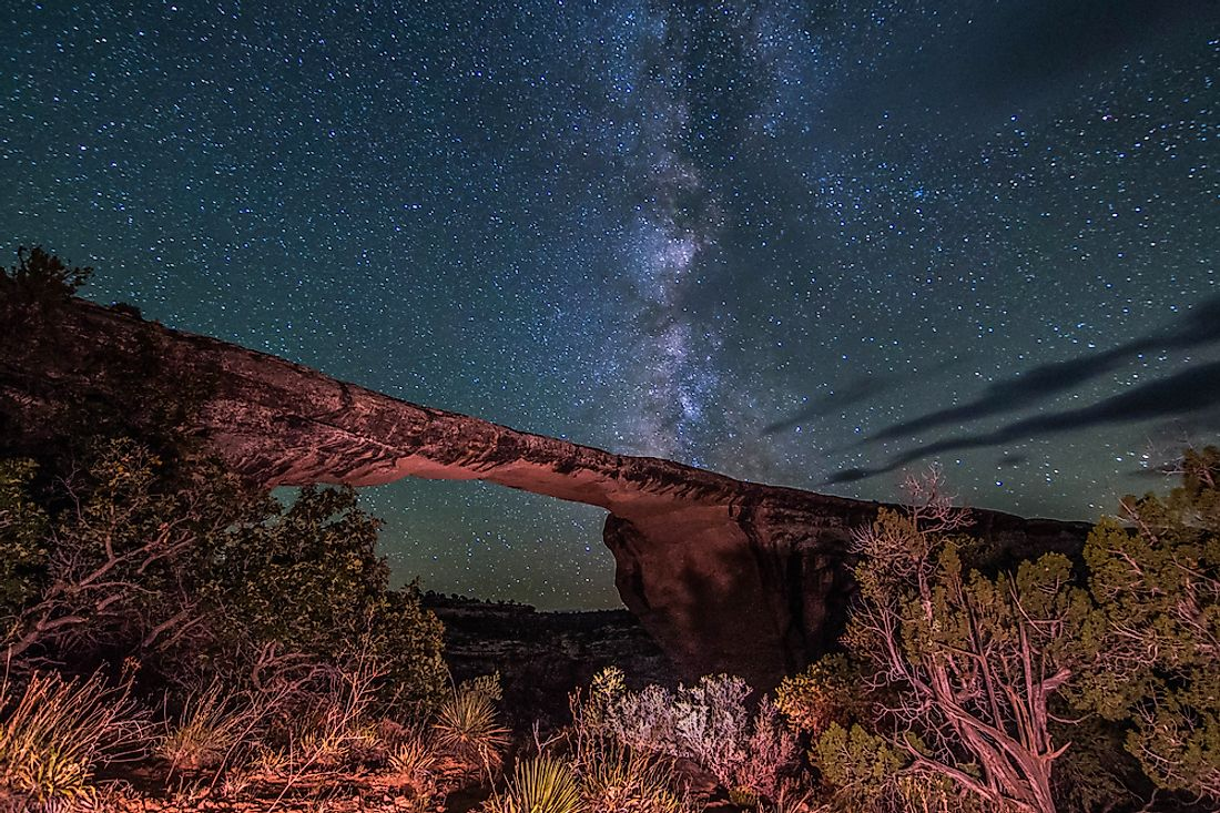Natural Bridges National Monument at nighttime.