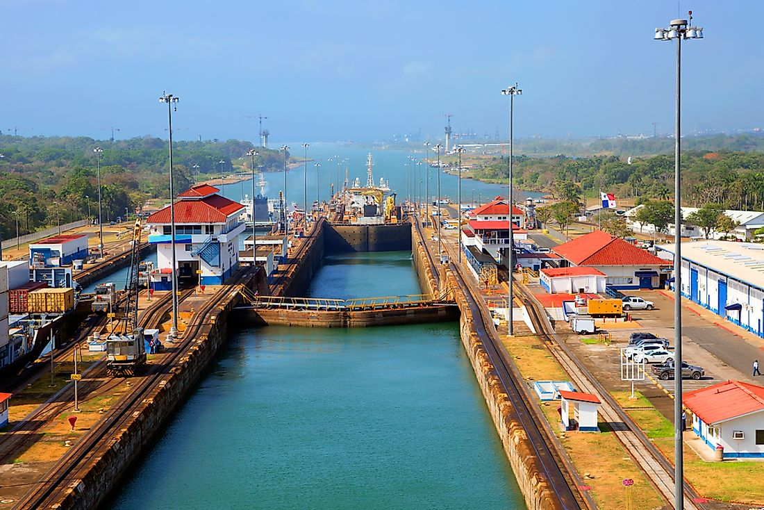The Panama Canal lock is one of the world's largest.