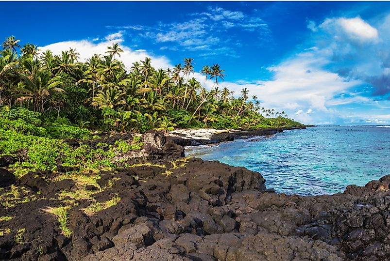 Coastal view off the south side of Upolu, Independent State of Samoa.