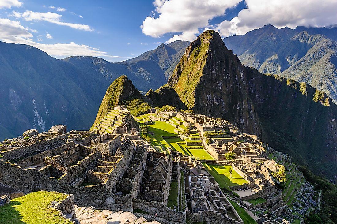 The archeological site of Machu Pichu in Peru.