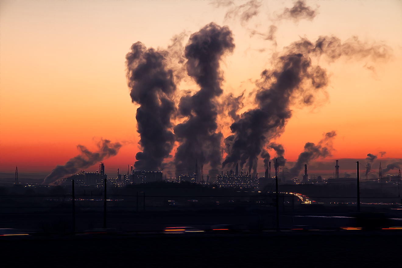Smoke from factories is one of the biggest sources of greenhouse gases added to the air.