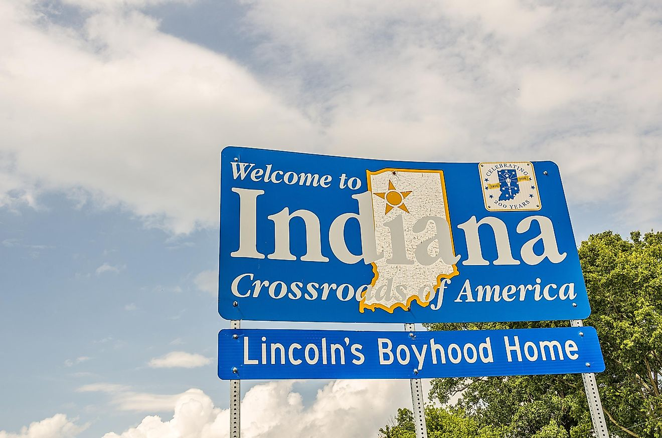 Indiana's welcome sign.