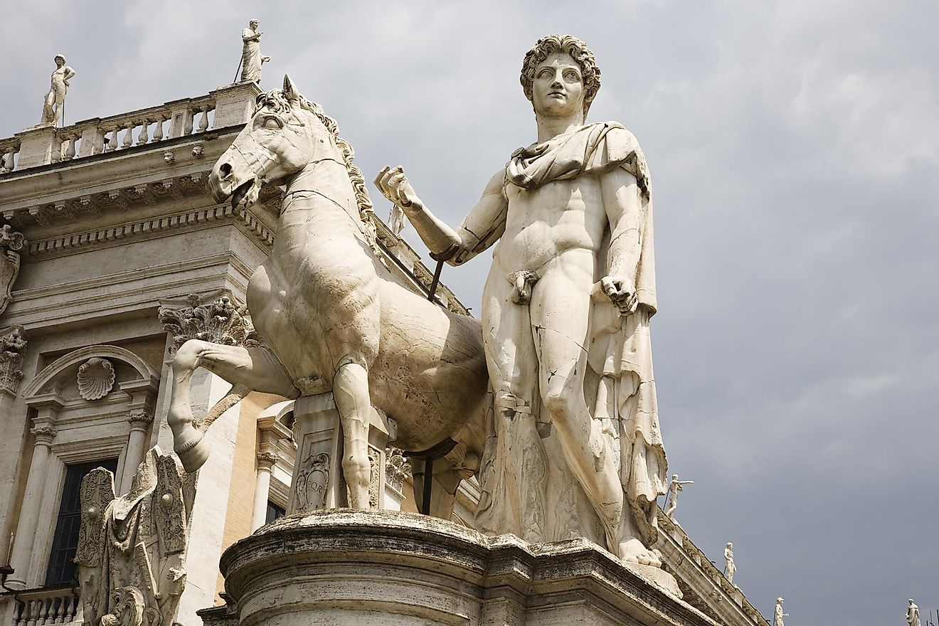 Giant statue of Marc Antony and his horse up the steps leading to the Palatino in Rome. Image credit: Todd Taulman Photography/Shutterstock.com