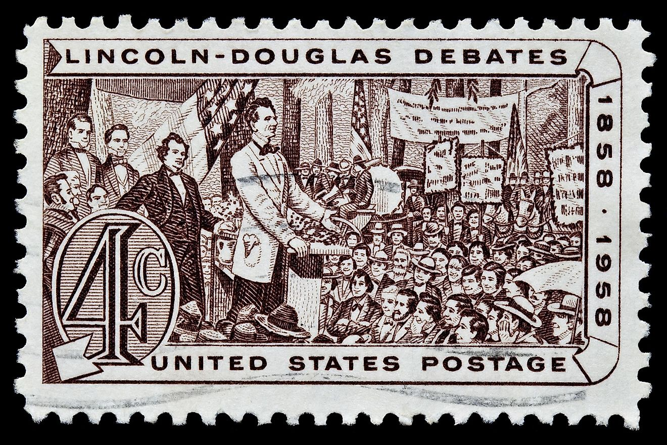 A stamp printed in United States. Lincoln - Douglas Debate of 1858. United States - CIRCA 1950's Image credit: Michael Rega / Shutterstock.com