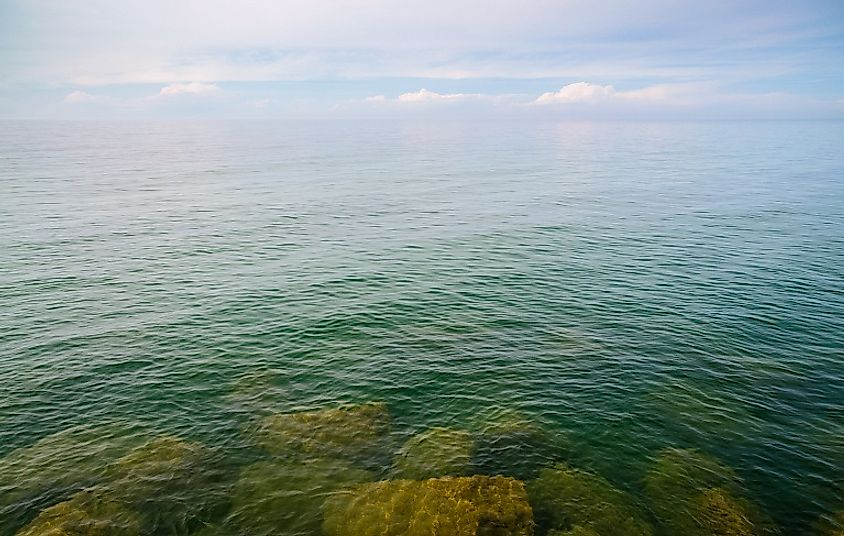 Shallows of Lake Erie, as seen from Presque Isle State Park, Millcreek Township, Pennsylvania, United States of America.