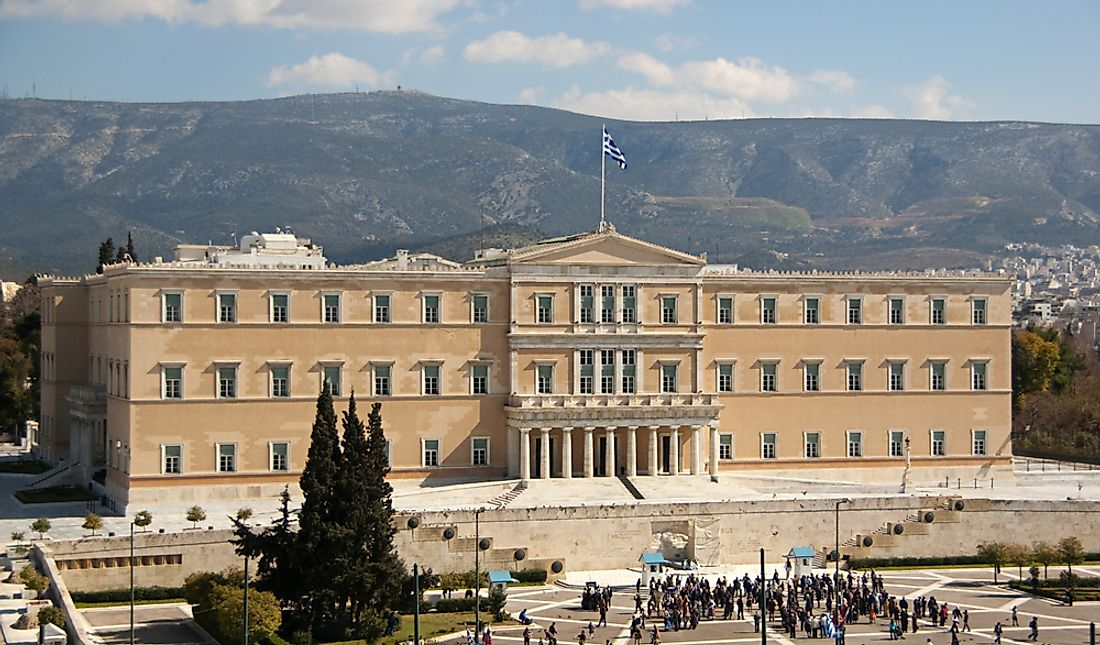 The Old Royal Palace in Athens houses the Hellenic Parliament.