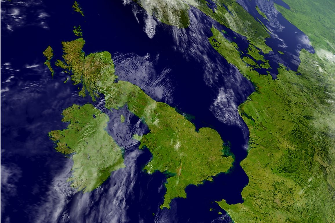 View of Great Britain and Ireland, Europe's first and third largest islands respectively.