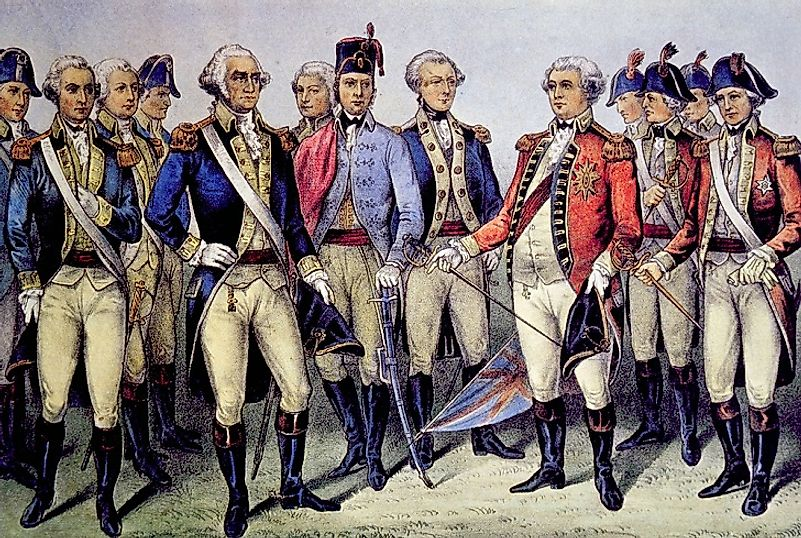 Continental Army General George Washington accepts British General Charles Cornwallis's surrender, following the 1781 Siege of Yorktown