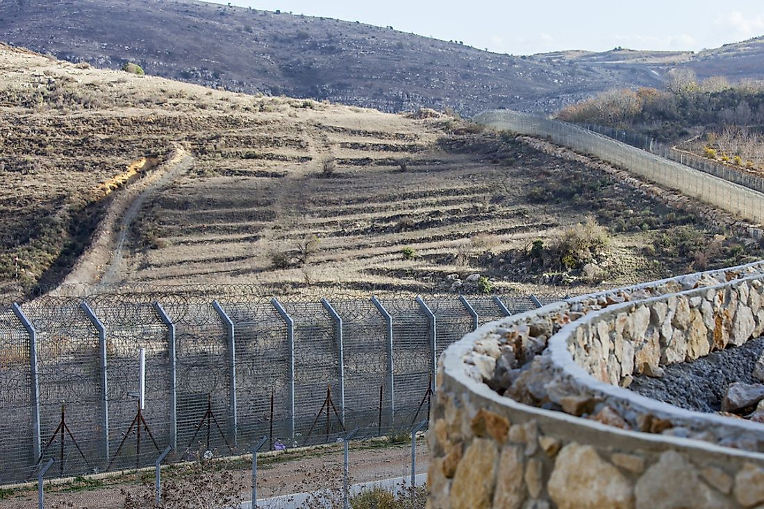 The fence on the border between Syria and Israel.