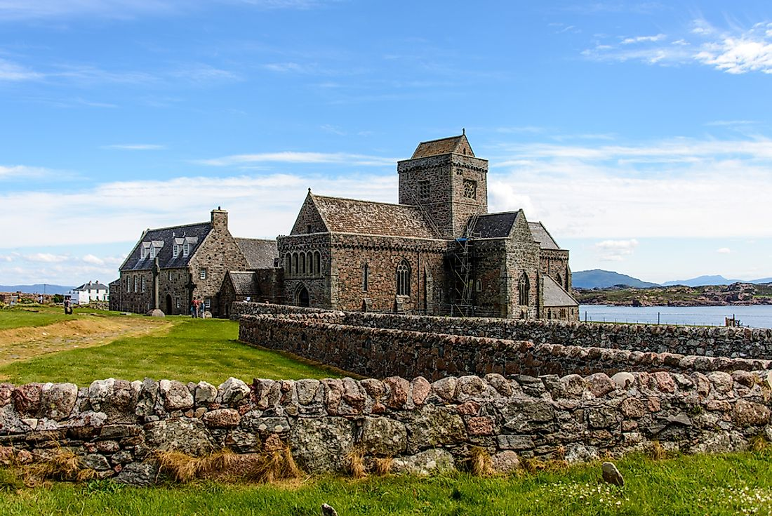 The Iona Abbey, on the island of Ì in Scotland.