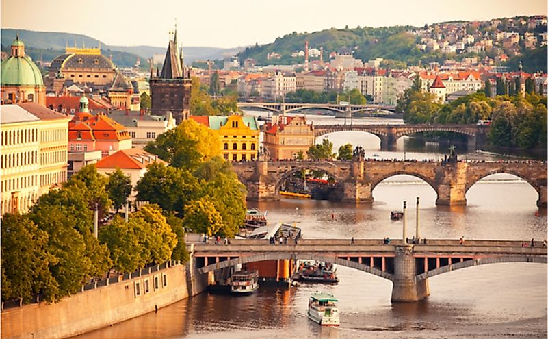 Beautiful view to Vltava and bridges in Prague, Czech Republic.