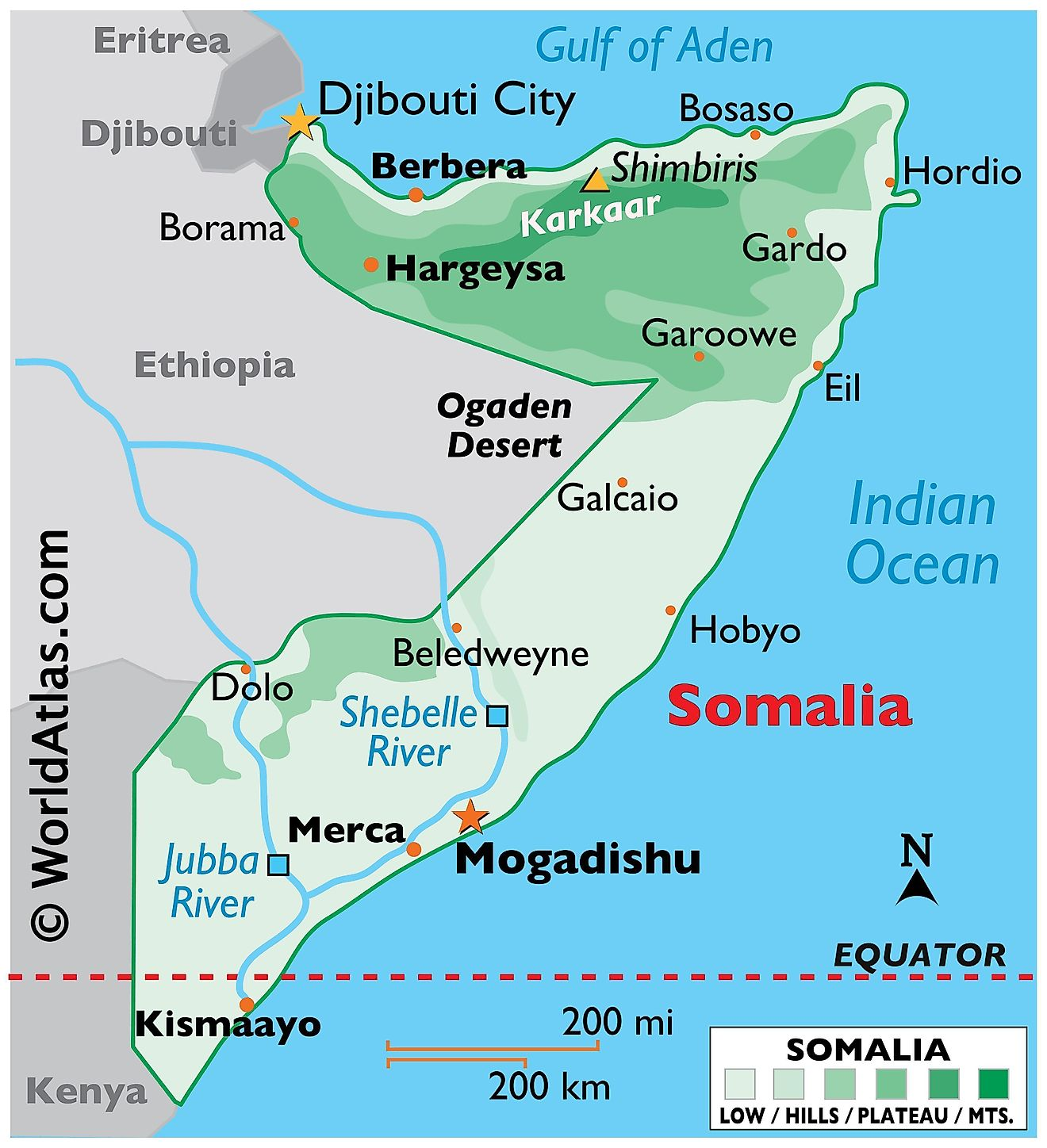 Phyiscal Map of Somalia with state boundaries. It shows the physical features of Somalia including terrain, mountain ranges, rivers, and major cities.