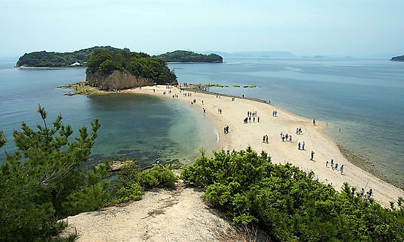 The Angel Road of Shōdo Island, Tonosho, Kagawa prefecture, Japan is an example of a notable tombolo.