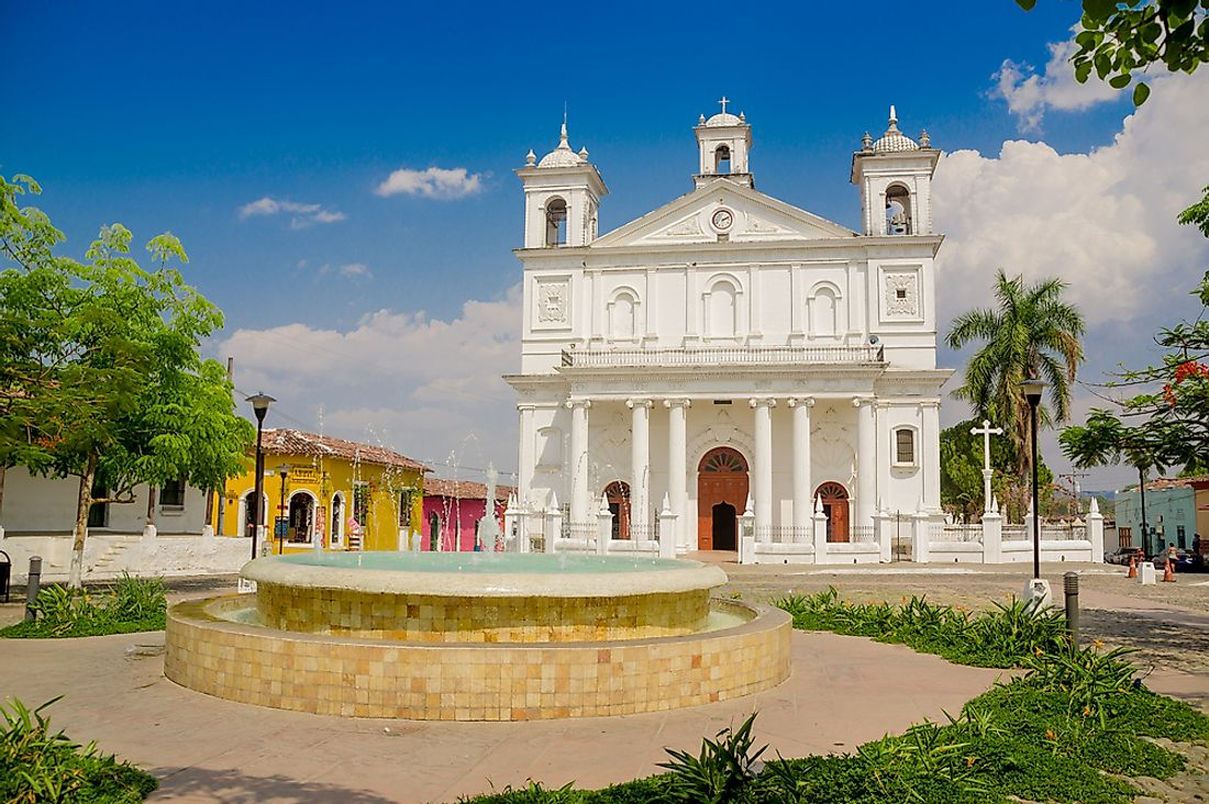 A Christian church in the center of a town in El Salvador.
