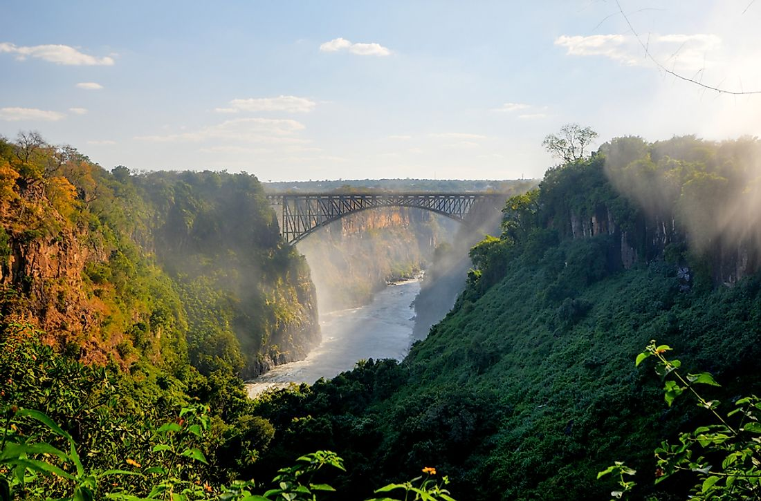 Victoria Falls is a famous watermark located on the border between Zambia and Zimbabwe southern Africa.