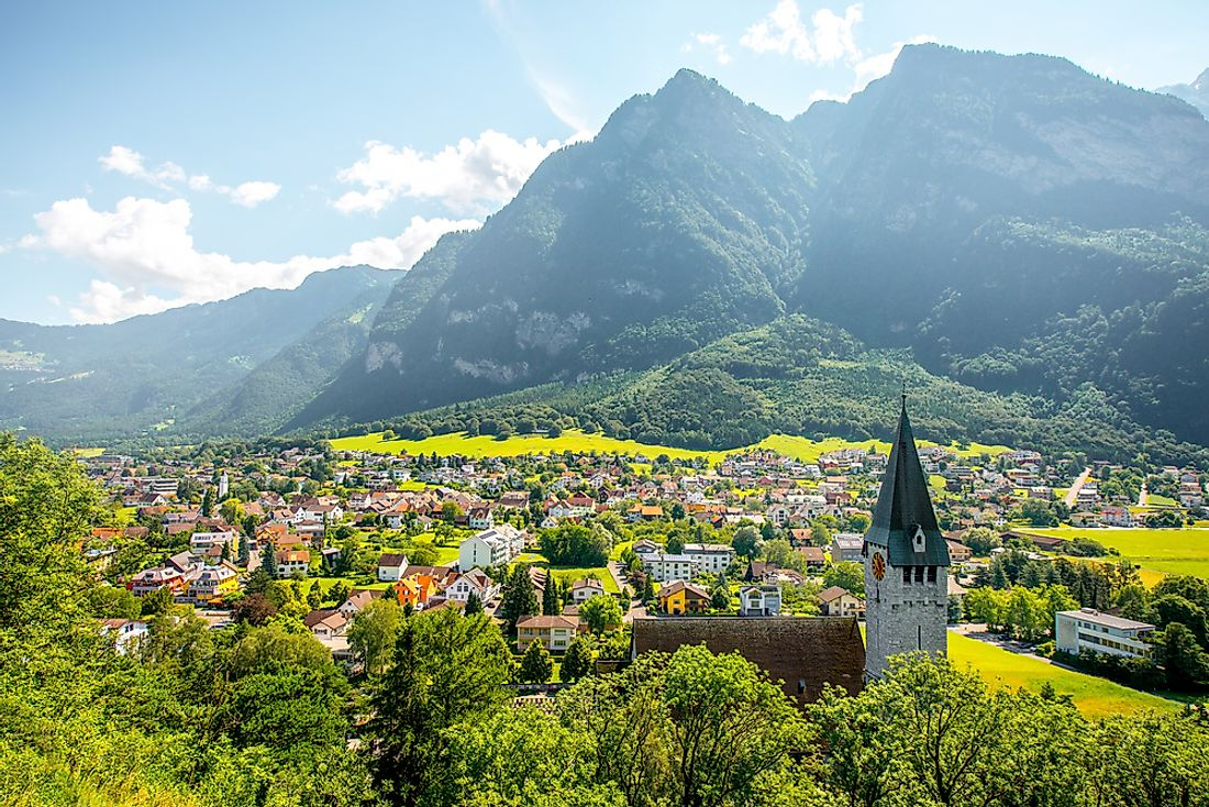 The village of Balzers in Liechtenstein, with the Saint Nicholas Church.